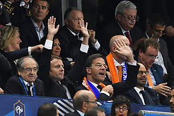 French President Emmanuel Macron, Prime Minister of Netherlands Mark Rutte, French Prime Minister Edouard Philippe doing the ola during the FIFA 2018 World Cup Qualifier between France and the Netherlands at Stade de France on August 31, 2017 in Saint-Denis near Paris, France. Photo by Laurent Zabulon/ABACAPRESS.COM