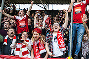Whitehawk fans celebrate victory. The FA Cup match between Whitehawk FC and Lincoln City at the Enclosed Ground, Whitehawk, United Kingdom on 8 November 2015. Photo by Bennett Dean.
