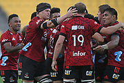 Crusaders players react after winning in golden point time with a drop goal in the Super Rugby match, Hurricanes v Crusaders, Sky Stadium, Wellington, Sunday, April 11, 2021. Copyright photo: Kerry Marshall / www.photosport.nz