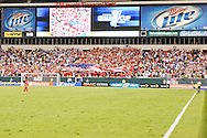 July 18 2009: USA fans display a large American Flag in the stands after a USA goal during the game between USA and Panama. The United States defeated Panama 2-1 in added extra time in a CONCACAF Gold Cup quarter-final match at Lincoln Financial Field in Philadelphia, Pennsylvania.