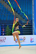 García Natalia Timofeeva during qualifying at ribbon in Pesaro World Cup 11 April 2015. Natalia is a Spanish rhythmic gymnastics athlete born in Barcelona Spain on  August 5, 1994.