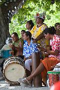 Welcome ceremony, Polynesian dancer, Tiputa, Rangiroa, Tuamotu Islands, French Polynesia, (Editorial use only)<br />