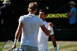 July 15, 2018 - London, England, U.S. - LONDON, ENG - JULY 15: KEVIN ANDERSON (RSA) and NOVAK DJOKOVIC (SRB) during day thirteen match of the 2018 Wimbledon on July 15, 2018, at All England Lawn Tennis and Croquet Club in London,England. (Photo by Chaz Niell/Icon Sportswire) (Credit Image: © Chaz Niell/Icon SMI via ZUMA Press)