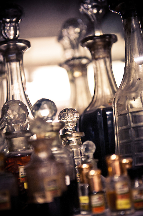 Perfume bottles at Gulabsingh Johrimal, one of the most famous Attar sellers in India, dating back to 1818. Attar is a natural perfume, made using a sandalwood oil base mixed with distilled fresh-flower essences such as rose, lavender and basil. (gulabsinghjohrimal.com, 320 Dariba Kalan, Chandni Chowk, Ph: (011) 2326 3743)