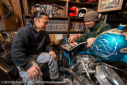 Custom Works Zon partners Yoshikazu Ueda (L) and Yuichi Yoshizawa in the office of their shop in Shiga Prefecture, Japan. December 8, 2015.  Photography ©2015 Michael Lichter.
