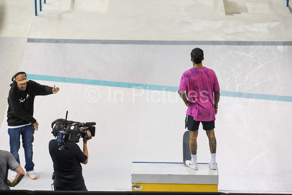 Nyjah Huston, USA, waiting to drop-in during the men's final of the Street League Skateboarding World Tour Event at Queen Elizabeth Olympic Park on 26th May 2019 in London in the United Kingdom. Nyjah Imani Huston is an American professional skateboarder, this was his 5th win at the Street League Series. He has also won 8 Summer X-Games gold medals. Huston is the highest paid skateboarder in the world.