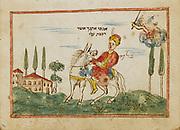 Balaam and donkey from an 18th century Hebrew Manuscript Tefilot u-piyuṭim (Prayers and songs) illuminated colour manuscript by Mordo, Eliʻezer;