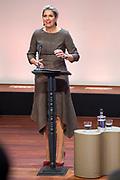 Koningin Maxima aanwezig en houdt een toepraak bij werkconferentie SchuldenlabNLin het kantoor van de Rabobank Group in Utrecht.<br /> <br /> Queen Maxima attended and held a speech at the SchuldenlabNL working conference in the Rabobank Group office in Utrecht.