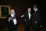 Sir Peter Blake and David Hockney. Dinner at the opneing of Degas, Sickert and Toulouse-Lautrec. Tate Britain. Pimlico, London.  London. 3 October 2005. . ONE TIME USE ONLY - DO NOT ARCHIVE © Copyright Photograph by Dafydd Jones 66 Stockwell Park Rd. London SW9 0DA Tel 020 7733 0108 www.dafjones.com