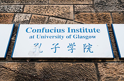 Sign board at Confucius Institute at Glasgow University , Scotland, United Kingdom