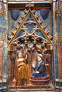 Gothic decorative relief panel depicting the Virgin Mary and Saint Antony. circa 1378-1390 from the church of Salvador of Gerb, Noguera. inv MNAC 25071, National Museum of Catalan Art (MNAC), Barcelona, Spain .<br /> <br /> If you prefer you can also buy from our ALAMY PHOTO LIBRARY  Collection visit : https://www.alamy.com/portfolio/paul-williams-funkystock/gothic-art-antiquities.html  Type -     MANAC    - into the LOWER SEARCH WITHIN GALLERY box. Refine search by adding background colour, place, etc<br /> <br /> Visit our MEDIEVAL ART PHOTO COLLECTIONS for more   photos  to download or buy as prints https://funkystock.photoshelter.com/gallery-collection/Medieval-Gothic-Art-Antiquities-Historic-Sites-Pictures-Images-of/C0000gZ8POl_DCqE