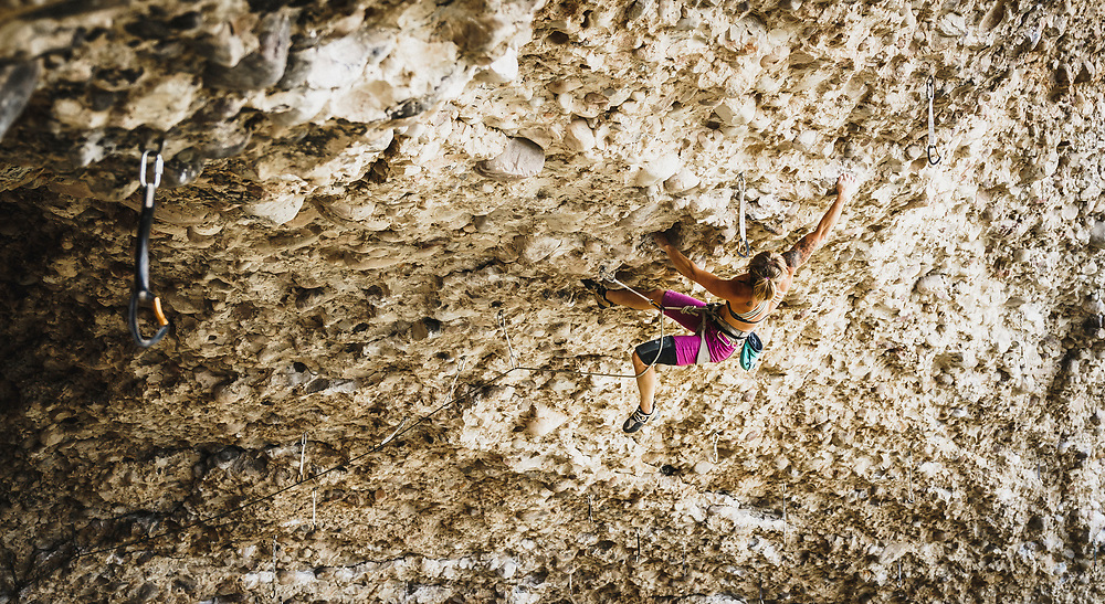 Jaima Andersen works her way through Rodeo Clown, 5.13b, Maple Canyon, Utah.