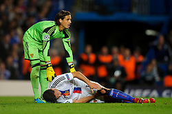 Basel Defender Fabian Schar (SUI) goes down injured during the second half of the match - Photo mandatory by-line: Rogan Thomson/JMP - Tel: 07966 386802 - 18/09/2013 - SPORT - FOOTBALL - Stamford Bridge, London - Chelsea v FC Basel - UEFA Champions League Group E