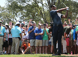 May 11, 2018 - Ponte Vedra Beach, Florida, U.S. - Tiger Woods hits out of the rough on the 9th hole during the second round of The PLAYERS Championship at TPC Sawgrass. (Credit Image: © Debby Wong via ZUMA Wire)
