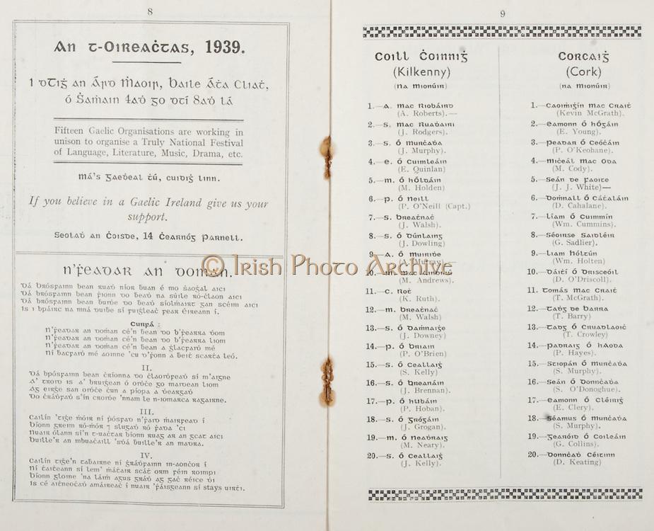 All Ireland Senior Hurling Championship Final, .Brochures,.03.09.1939, 09.03.1939, 3rd September 1939,.Kilkenny 2-7, Cork 3-3, .Minor Kilkenny v Cork,.Senior Kilkenny v Cork, .Croke Park, ..Advertisement, An T-Oireactas 1939, ..Song, N'Feadar An Doman, ..Kilkenny Minor Team, A. Roberts, J. Rodgers, J. Murphy, E. Quinlan, M. Holden, P. O'Neill, J. Walsh, J. Dowling, A. Murray, M. Andrews, K. Ruth, M. Walsh, J. Downey, P. O'Brien, S. Kelly, J. Brennan, P. Hoban, J. Grogan, M. Neary, J. Kelly, ..Cork Minor Team, Kevin McGrath, E. Young, P. O'Keohane, M. Cody, J. J. White, D. Cahalane, Wm. Cummins, G. Sadlier, Wm. Holten, D. O'Dricoll, T. McGrath, T. Barry, T. Crowley, P. Hayes, S. Murphy, S. O'Donoghue, E. Clery, S. Murphy, G. Collins, D. Keating,