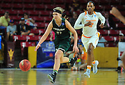 March 18, 2016; Tempe, Ariz;  Green Bay Phoenix guard/forward Jessica Lindstrom (21) brings the ball up the court during a game between No. 7 Tennessee Lady Volunteers and No. 10 Green Bay Phoenix in the first round of the 2016 NCAA Division I Women's Basketball Championship in Tempe, Ariz.