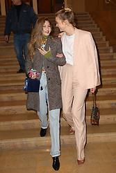 """Gigi Hadid and Karlie Kloss attends the launch of Evian and Virgil Abloh's limited-edition """"One Drop can make a Rainbow"""" collection at Théâtre National de Chaillot in Paris, France on February 25, 2019. Photo by Jerome Domine/ABACAPRESS.COM"""