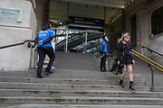 With the UK's Coronavirus pandemic lockdown easing with preparations going ahead for the opening of more public transport and services plus shops, another 151 have died from Covid-19 bringing the total in the last 24hrs to 41,279. Social distance guides ensure passengers climb the steps into Waterloo Station on the right-hand side, and descend on the opposite left side while Britons are being asked to wear face coverings and to stay apart which is in line with government requirements for all users of public trransport starting next Monday (15th June), on 11th June 2020, in London, England.