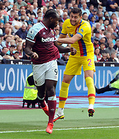 Football - 2021 / 2022 Premier League - West Ham United vs Crystal Palace - London Stadium - Saturday 28th August 2021<br /> <br /> Michail Antonio of West Ham and Joel Ward of C Palace<br /> <br /> Credit : COLORSPORT/Andrew Cowie