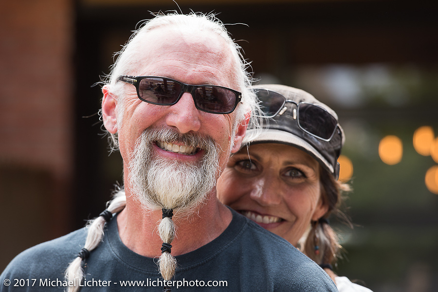 Debi and Reed Holmes on the Aidan's Ride to raise money for the Aiden Jack Seeger nonprofit foundation to help raise awareness and find a cure for ALD (Adrenoleukodystrophy) during the annual Sturgis Black Hills Motorcycle Rally. Rapid City, SD, USA. Tuesday August 8, 2017. Photography ©2017 Michael Lichter.