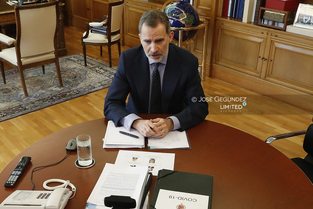 King Felipe VI of Spain attends a videoconference with those responsible for Spanish engineering at Zarzuela Palace on May 19, 2020 in Madrid, Spain