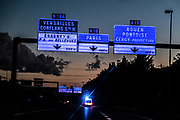 Val-d'Oise, Ile de France, France   An ambulance of the First responders of Protection Civil is seen driving towards a possible Covid-19 case around Paris.