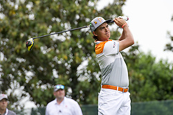 May 5, 2019 - Charlotte, North Carolina, United States of America - Rickie Fowler tees off on the sixteenth hole during the final round of the 2019 Wells Fargo Championship at Quail Hollow Club on May 05, 2019 in Charlotte, North Carolina. (Credit Image: © Spencer Lee/ZUMA Wire)