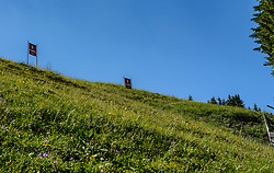 THEMENBILD - Der Blick vom Karussell ausfahrt in die Steilhang Einfahrt, aufgenommen am 26. Juni 2017, Kitzbühel, Österreich // The view from the roundabout leads into the steep slope entrance at the Streif, Kitzbühel, Austria on 2017/06/26. EXPA Pictures © 2017, PhotoCredit: EXPA/ Stefan Adelsberger