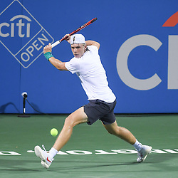 August 2, 2018 - Washington, D.C, U.S - DENIS SHAPOVALOV hits a backhand during his 3rd round match at the Citi Open at the Rock Creek Park Tennis Center in Washington, D.C. (Credit Image: © Kyle Gustafson via ZUMA Wire)
