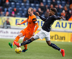 Dundee United's Adam Taggart and Falkirk's Myles Hippolyte. half time : Falkirk 1 v 0 Dundee United, Scottish Championship game played 11/2/2017 at The Falkirk Stadium.