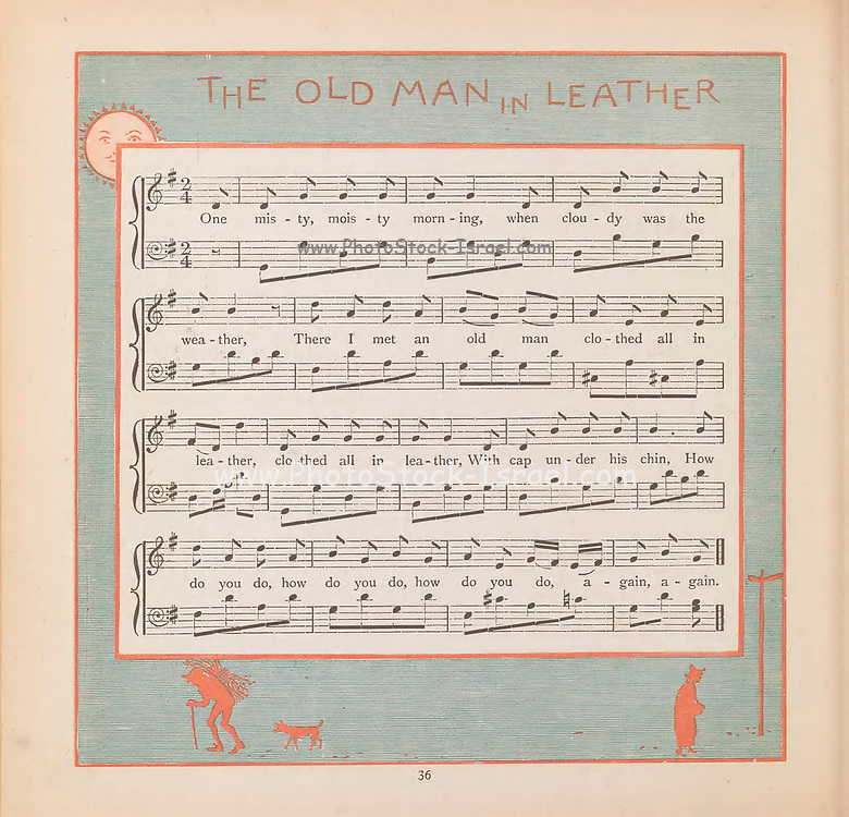 Old Man in Leather Sheet Music From the Book ' The baby's bouquet : a fresh bunch of old rhymes & tunes ' by Crane, Walter, 1845-1915; Crane, Lucy, 1842-1882; Evans, Edmund, 1826-1905; Publisher  George Routledge and Sons (London and New York) 1878
