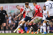 Son Heung-Min of Tottenham Hotspur (c)  in action.Barclays Premier league match, Tottenham Hotspur v Manchester Utd at White Hart Lane in London on Sunday 10th April 2016.<br /> pic by John Patrick Fletcher, Andrew Orchard sports photography.