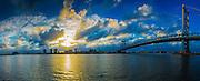 Philadelphia at sunset with the BenFranklin Bridge