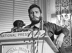 Prime Minister Fidel Castro of Cuba addresses a National Press Club luncheon in Washington, DC, USA on April 20, 1959. His appearance came less than four months after he seized power in Cuba and he said he had no dictatorial ambitions. Photo by Benjamin E. 'Gene' Forte/CNP/ABACAPRESS.COM Photo by Arnie Sachs/CNP/ABACAPRESS.COM