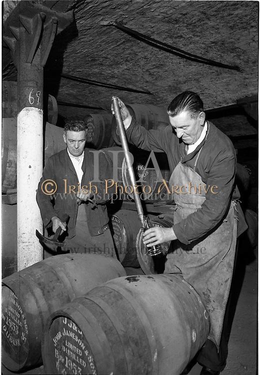 30/08/1963<br /> 08/30/1963<br /> 30 August 1963<br /> Jameson Distillery, interior views of cask storage at Bow Street, Anne Street and 2 Amiens, Street,  Jameson's, Irish, Whiskey, jameson,