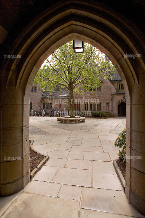 Yale University Campus, The Branford College Quad in April. View through Arch into Courtyard, Y formation of Walkways.