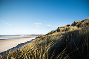 Woman looking out to sea from the sand dunes across the beach at Le Braye, St Ouen's Bay, Jersey, CI