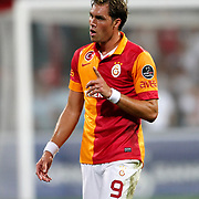 Galatasaray's Johan Elmander during their Turkish Superleague soccer derby match Besiktas between Galatasaray at the Inonu Stadium at Dolmabahce in Istanbul Turkey on Thursday, 26 August 2012. Photo by TURKPIX