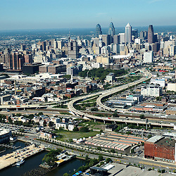 Aerial view of Philadelphia, Pennsylvania, view west