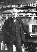 Thomas Alva Edison (1847-1931) American inventor, in his laboratory at Menlo Park,