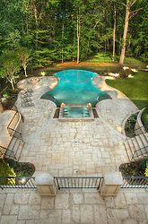 8541_Horseshoe_Pool_above_DAY swimming pool Swimming pool House rear exterior Deck patio Verandah Porch Pool pool house
