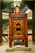 A nineteenth-century Tibetan prayer wheel on display at the Rubin Museum.