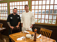 Executive Chef Allen Zick and Head Chef Dave Fraser on the patio at Lago's in Meredith offering a commanding view of Meredith Bay to their diners.  (Karen Bobotas/for the Laconia Daily Sun)