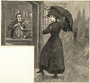 'Young woman with umbrella visiting the local post office on a wet and windy day. Engraving, London, 1886.'