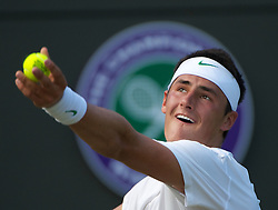 25.06.2011, Wimbledon, London, GBR, Wimbledon Tennis Championships, im Bild Bernard Tomic (AUS) in action during the Gentlemen's Singles 3rd Round match on day six of the Wimbledon Lawn Tennis Championships at the All England Lawn Tennis and Croquet Club, EXPA Pictures © 2011, PhotoCredit: EXPA/ Propaganda/ *** ATTENTION *** UK OUT!