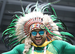 SAINT PETERSBURG, June 22, 2018  A fan of Brazil cheers prior to the 2018 FIFA World Cup Group E match between Brazil and Costa Rica in Saint Petersburg, Russia, June 22, 2018. (Credit Image: © Cao Can/Xinhua via ZUMA Wire)