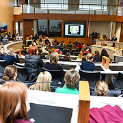 05/03/2019<br /> Pictured is Peter Gaynor, Executive Director, Fairtrade Ireland.<br /> <br /> Fairtrade worker Sara Montoya, from a Fairtrade Coffee Co-op in Colombia was the special guest in Limerick City and County Council chamber today at an event to coincide with Fairtrade Fortnight.<br />  <br /> Sara joined Fairtrade supporters from across Limerick and Ireland for the annual initiative, which features a programme of talks and community events aimed at promoting awareness of Fairtrade and Fairtrade-certified products.<br />  <br /> Speaking at the event in Dooradoyle, Sara outlined the success and benefits of the Fairtrade movement in Colombia and how important it is for people in the developed world think of Fairtrade products when shopping.<br />  <br /> This year's campaign 'Create Fairtrade' invites us all to use our imagination and create fairtrade in our lives.<br />  <br /> Young people from across Limerick city and county were also a focus of the event as they displayed their posters, which they created to help change the way people think about trade and the products on our shelves.<br /> Photo by Diarmuid Greene