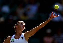 Karolína Pliskova in action against Magdalena Rybarikova on day four of the Wimbledon Championships at The All England Lawn Tennis and Croquet Club, Wimbledon.