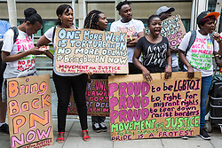 London, UK. 10 July, 2019. Campaigners from groups including Movement for Justice and Out and Proud protest outside the Home Office against the government department's decision to try to block the return to the UK of PN, a Ugandan lesbian removed from the UK using the now unlawful fast track procedure in 2013 but who the High Court ordered on 24th June must be returned to the UK by the Home Office after the handling of her case was ruled to be 'procedurally unfair'.