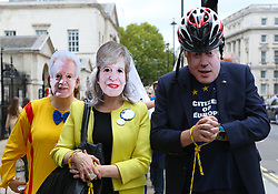 October 14, 2017 - London, United Kingdom - Protesters from No 10 Vigil For Victory organization marched in Whitehall to demonstrate Britain leaving the European Union. A mock funeral procession passed Downing Street in Westminster and the protesters rally in Parliament Square. (Credit Image: © Dinendra Haria/i-Images via ZUMA Press)